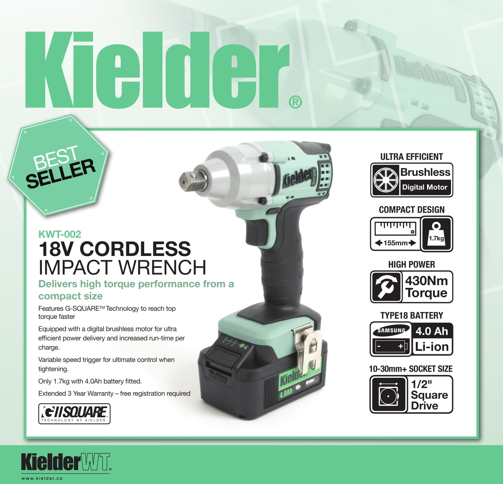 Kielder KWT-012-51 18v Brushless Cordless Impact Wrench 2 x 4.0Ah TYPE18 Li-ion Battery