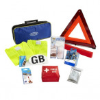 Image for Ring RCT1 10 Piece European Travel Kit, with Warning Triangle, 2 High Vis Vests, Bulb Kit, NF Breathalysers, First Aid Kit, Foil Blanket, Beam Reflectors, GB Sticker and Storage Case